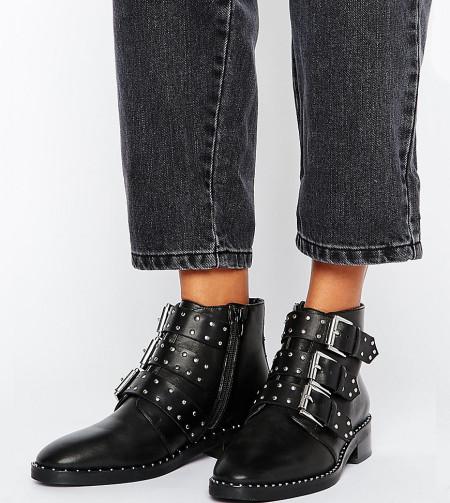 ASOS - ASHER - Nietenbesetzte Ankle Boots aus Leder - Schwarz