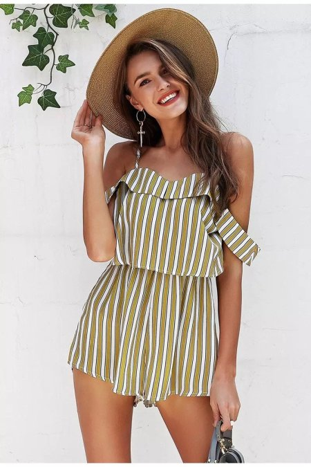 Fashion Movements: Yellow striped off shoulder jumpsuit romper playsuit