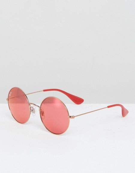 Ray-Ban: Ray Ban - Runde Sonnenbrille mit roten Gläsern - Rot