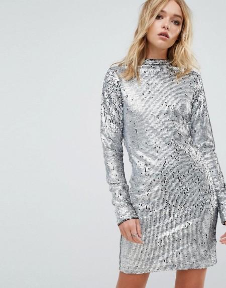 CHEAP MONDAY: Cheap Monday - Kleid mit Pailletten und hohem Kragen - Silber