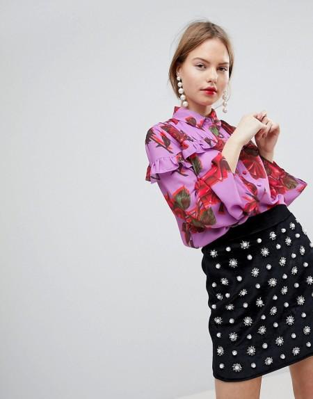 LOST INK: Lost Ink - Geblümte Bluse mit Rüschenbesatz - Mehrfarbig