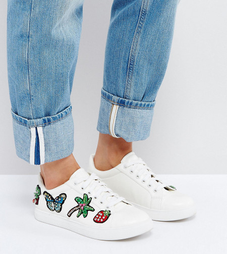 ASOS - DIAMOND - Sneakers mit Aufnähern und breiter Passform - Weiß