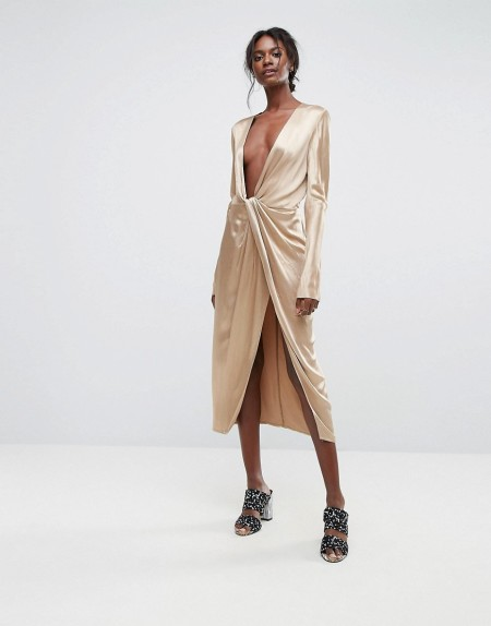 Bec & Bridge - Kleid mit tiefem Halsausschnitt und verdrehter Vorderseite - Gold