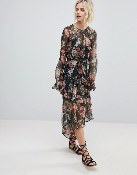 Rahi Cali - Mit Blumen bedrucktes asymmetrisches Kleid - Mehrfarbig