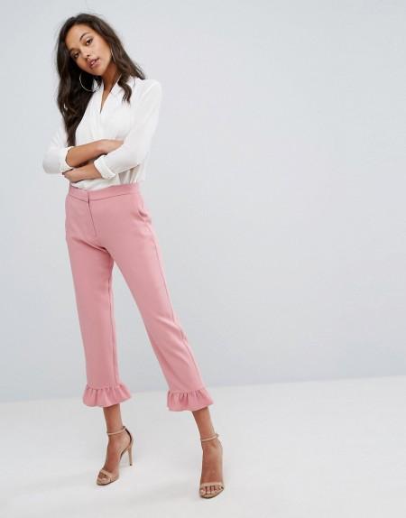 River Island - Elegant geschnittene Hose mit Fransensaum - Rosa