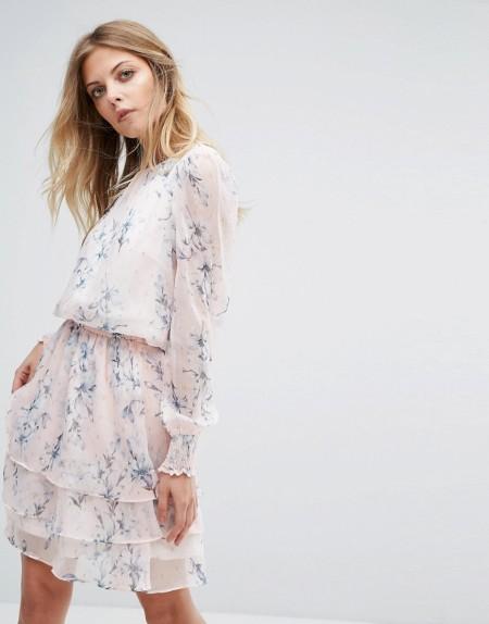 Y.A.S - Mit Blumen bedrucktes, langärmliges Kleid - Mehrfarbig
