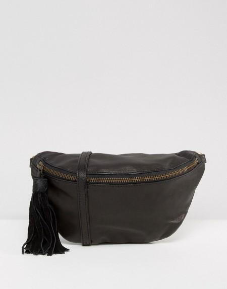 ASOS - Klassische Bauchtasche aus Leder - Schwarz