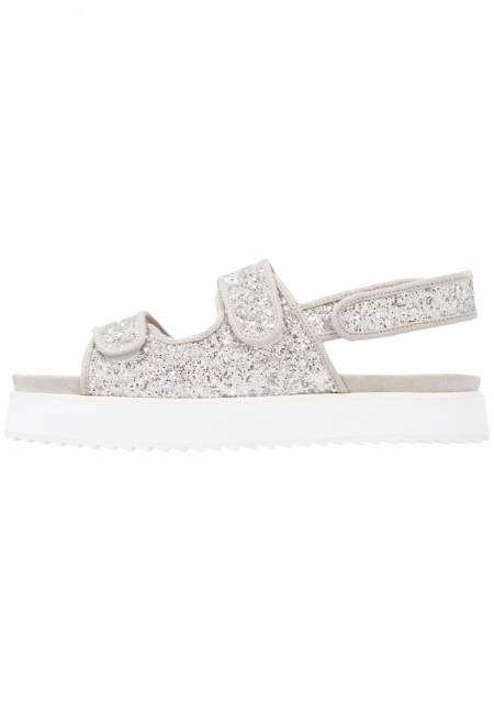 Shellys London: DAMARA - Plateausandalette - silver glitter