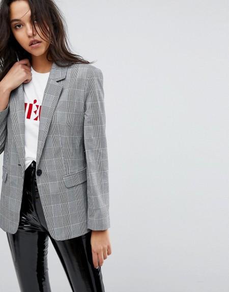Miss Selfridge - Taillierter Blazer mit Schulterpolstern und Karomuster - Mehrfarbig