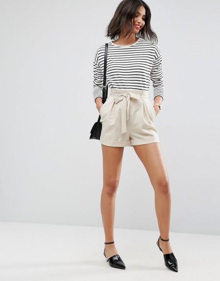 ASOS - Shorts mit Paperbag-Taille - Steingrau