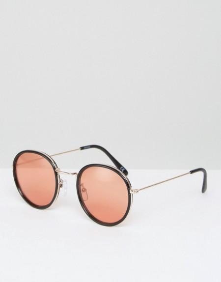 ASOS - Runde Sonnenbrille mit Nasensteg aus Metall und orange getänten Gläsern im Stil der 70er - Schwarz