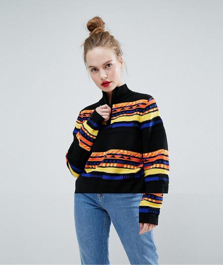 ASOS - Pullover mit hohem Kragen und grafischem Muster - Mehrfarbig