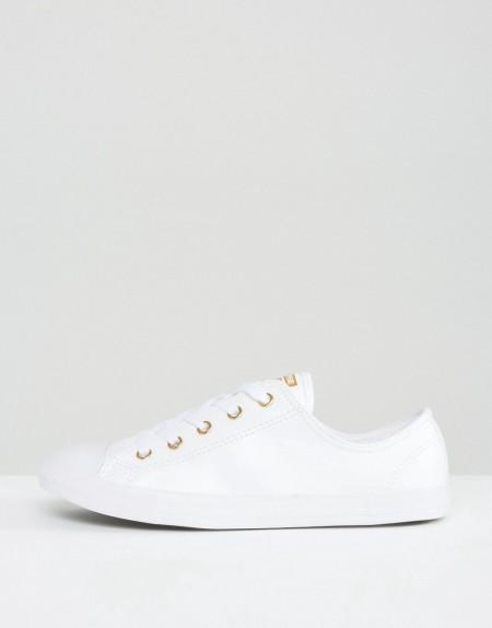 Converse - Chuck Taylor Dainty - Sneaker in Weiß mit goldfarbenen Ösen - Mehrfarbig