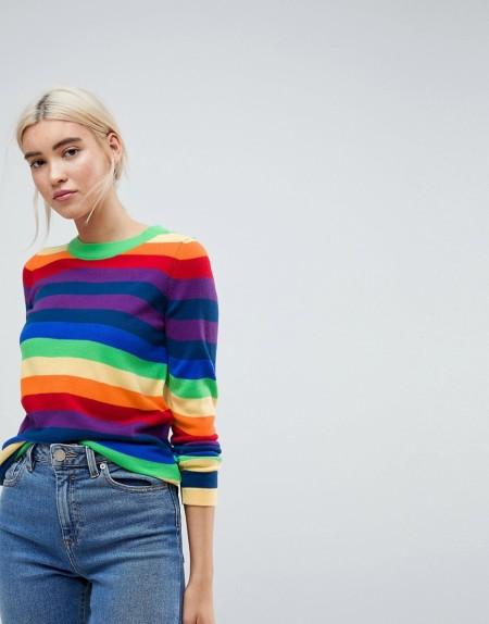 ASOS - Pullover mit leuchtenden Streifen - Mehrfarbig