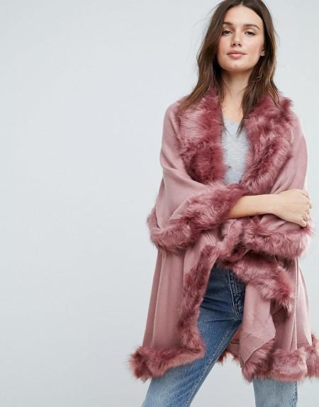 Jayley - Zweilagiger Poncho aus Wolle mit Kunstpelzbesatz - Rosa