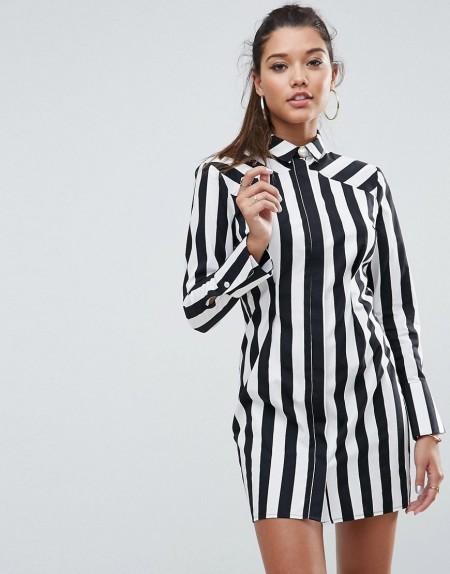 ASOS - LEAH - Hemdkleid mit schwarz-weißen Streifen - Mehrfarbig