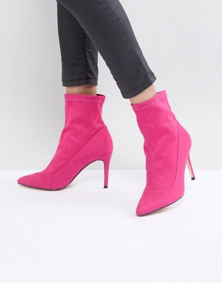Faith - Bow - Stiefel aus Wildleder in Hot Pink - Rosa