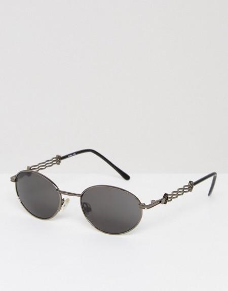 Reclaimed Vintage Inspired - Runde Sonnenbrille in Silber - Silber