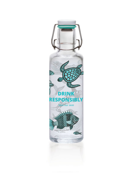 """soulproducts GmbH: soulbottle 0,6l • Glastrinkflasche • schadstoff- & plastikfrei, made in Germany • """"Drink Responsibly"""""""