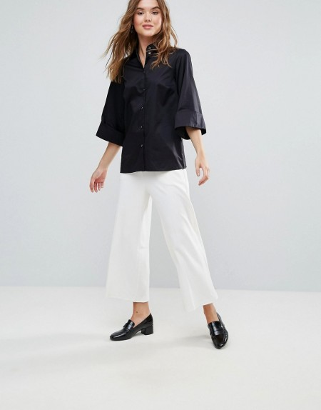 Closet London: Closet - Hose mit weitem Bein - Weiß