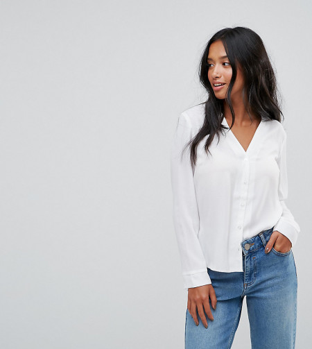 ASOS Petite: ASOS PETITE - Bluse mit V-Ausschnitt - Weiß