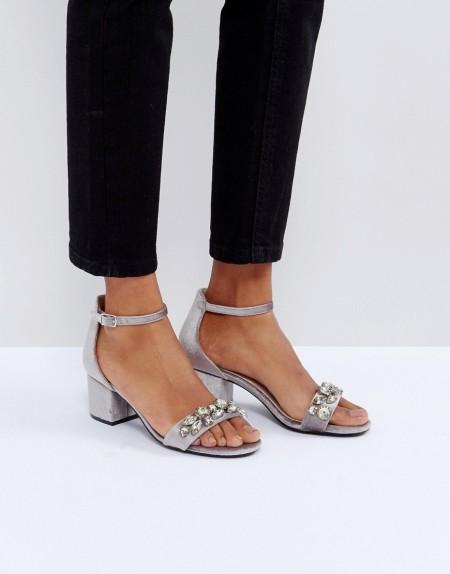 Faith - Derry - Verzierte Sandalen aus Samt mit Blockabsatz - Grau
