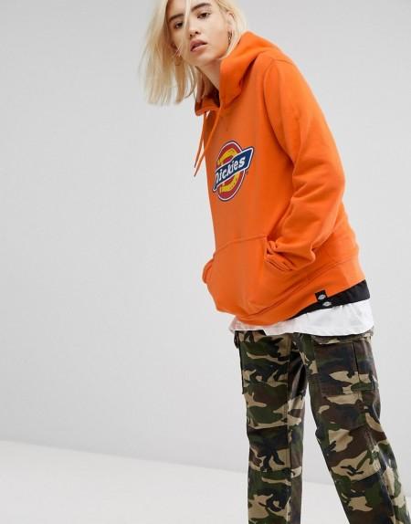 Dickies - Oversize-Kapuzenpullover mit Logo-Print - Orange
