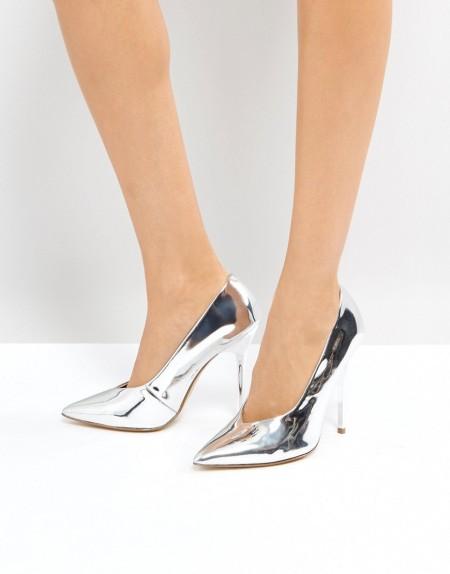 OFFICE: Office - High Flyer - Spitze Schuhe mit hohem Rist - Silber