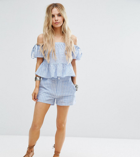Missguided Petite - Gestreifte Shorts - Blau