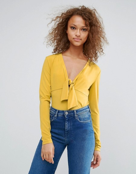 Oeuvre - Bluse mit Schleife vorn - Gelb