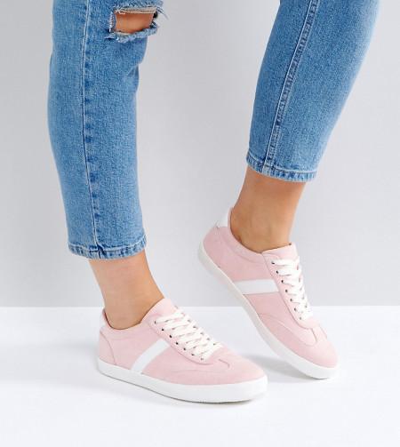 ASOS DELPHINE - Gestreifte Sneaker zum Schnüren in weiter Passform - Beige