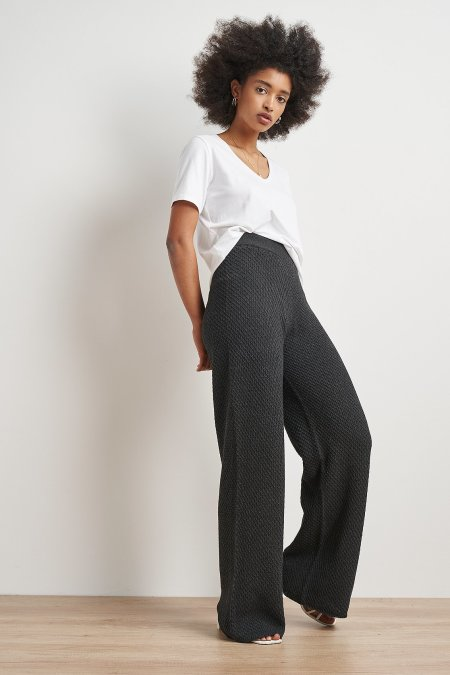 NU-IN: 100% Recycled Wide Leg Seamless Knitted Pants