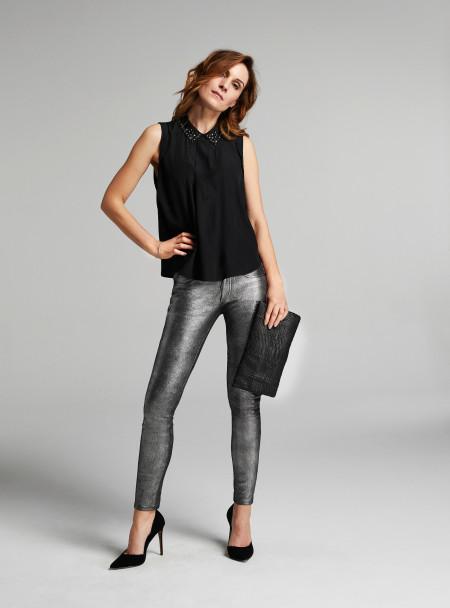 Rosa Stern Stretch Lederhose in Metallic Foil