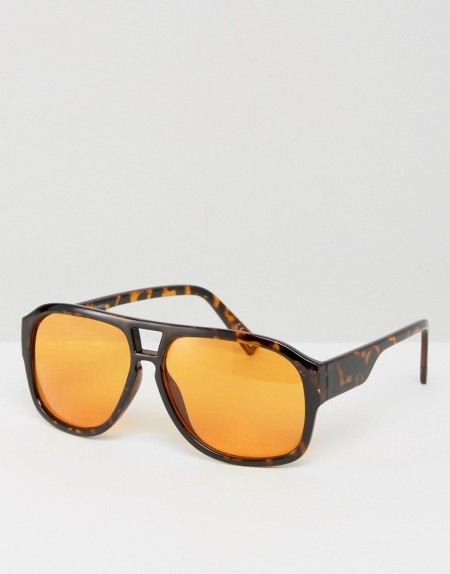 ASOS - Pilotensonnenbrille in Schildplattoptik mit orangefarbenen Gläsern - Braun