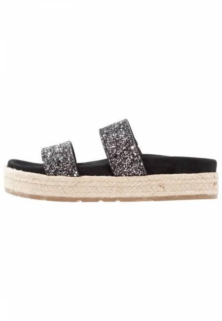 Tamaris: Pantolette flach - black glitter