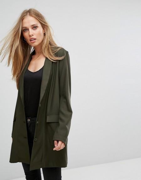 Selected - Lang geschnittener Blazer - Grün