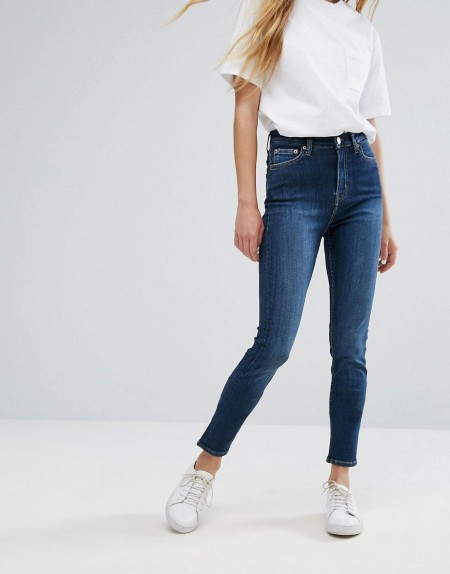 Weekday - Thursday - Skinny Jeans mit hoher Taille - Blau