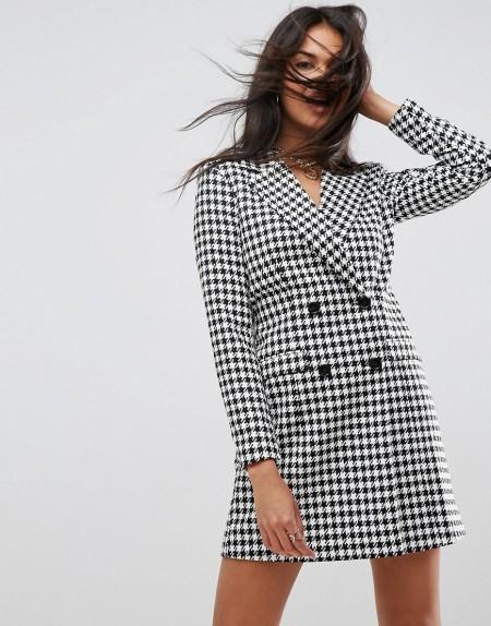 ASOS Tailored - Sexy Blazer mit langem Schnitt und Hahnentrittmuster - Mehrfarbig
