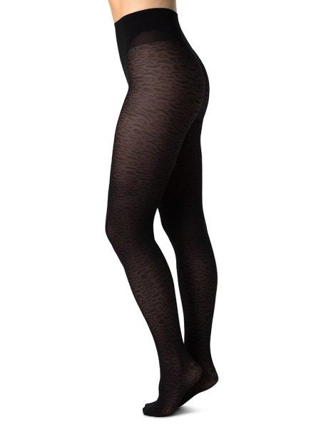 Swedish Stockings: EMMA LEOPARD TIGHTS BLACK