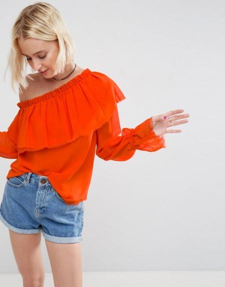ASOS - Schulterfreie Bluse mit Rüschen - Orange