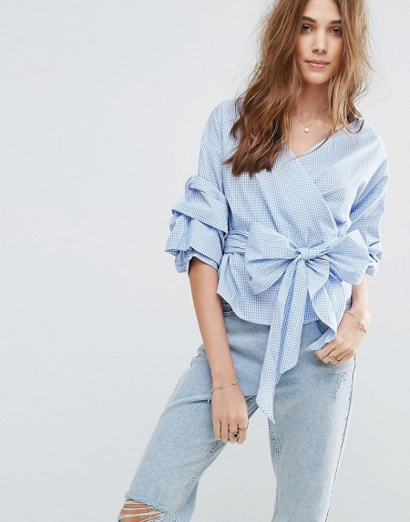 New Look - Wickelbluse mit Vichymuster - Blau