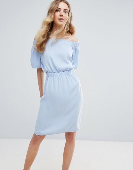 ICHI: Ichi - Schulterfreies Kleid - Blau