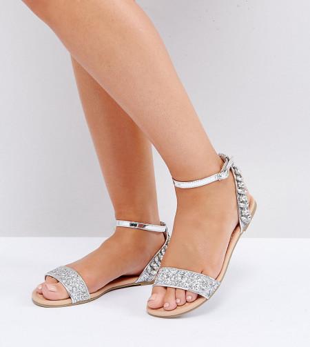 ASOS - FARINA - Verzierte, flache Sandalen in weiter Passform - Mehrfarbig