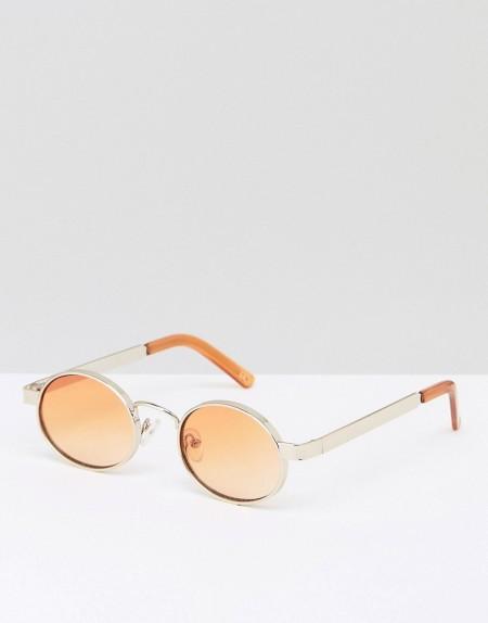 ASOS - Ovale Sonnenbrille in Gold mit orangen Gläsern - Gold