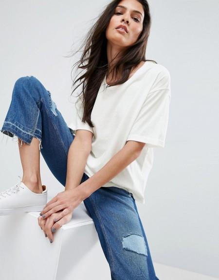 ASOS - T-Shirt in Leinenmischung - Weiß