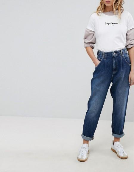 Pepe Jeans - Daisie - Mom-Jeans mit hoher Taille und Bundfalten - Blau