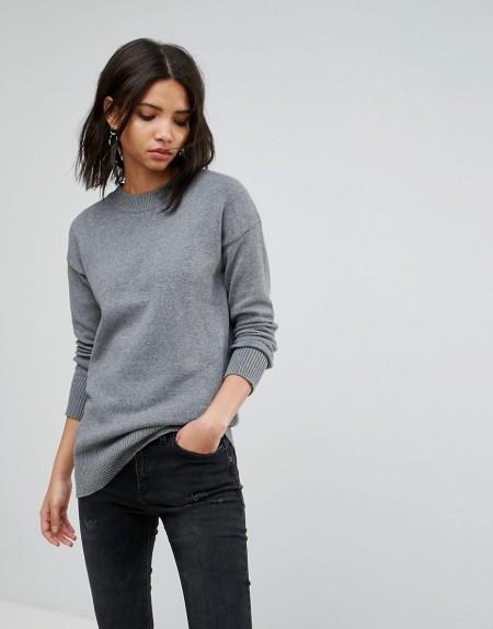 VILA: Vila - Langer Pullover - Grau