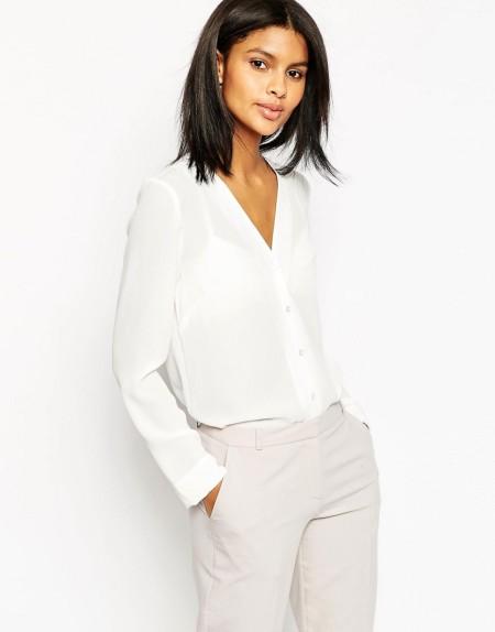 ASOS - Bluse mit V-Ausschnitt - Weiß