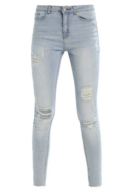 Missguided Tall: SINNER HIGH WAISTED RIPPED  - Jeans Skinny Fit - stonewash