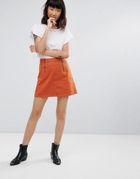 MiH Jeans: M.i.h Jeans - Arrow - Minijeansrock - Orange